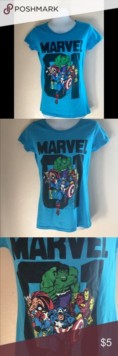⚡️Sold⚡️Women's Marvel Graphic T-shirt Women's T-shirt 👚with The Avengers on it.  Worn once. A must have for the mommy who has a younger child. Perfect to get you to cool 👓mommy status.  Size Medium   Materials  60% Cotton  40% polyester Marvel Tops Tees - Short Sleeve