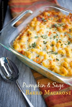 Pumpkin & Sage Baked Macaroni | Carrie's Experimental Kitchen #pasta #pumpkin #meatless
