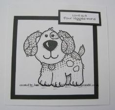 Puppy Love Clear Woodware Stamp with a little Zentangling.www.aldridgecrafts.co.uk