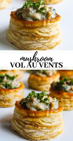 Mushroom vol-au-vent - - Golden crispy glossy puff pastry topped with creamy garlicky mushroom sauce. Vol Au Vent, Vegetarian Recipes, Cooking Recipes, Puff Pastry Recipes, Snacks, Appetisers, Veggie Dishes, Side Dishes, Appetizer Recipes