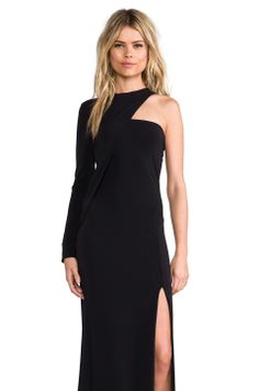 Cut25 by Yigal Azrouel One Shoulder Long Sleeve Gown in Jet from REVOLVEclothing
