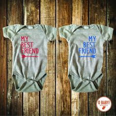 My best friend bodysuit is great for twins, friends, cousins and baby shower… Twin Girls, Twin Babies, Cute Babies, Baby Boys, The Babys, Baby Shower Gifts, Baby Gifts, How To Have Twins, Everything Baby