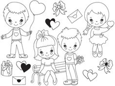 70% OFF SALE Valentines Day Kids Clipart - Digital Vector, Romance, Girl, Boy, Valentines Day Clip Art #thecreativemill