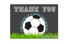 Soccer Thank You Card, Soccer Birthday, Soccer Ball Thank You, Soccer Party, Sports Thank you, Sports Birthday, Thank you Card, Printable