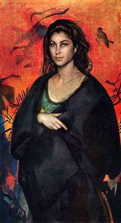 La Strega by Pietro Annigoni (Italian Tempera grassa su tela Italian Painters, Italian Artist, Street Portrait, Portrait Art, Portrait Paintings, Art Magique, Rose Art, Figure Painting, Woman Painting