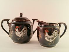 Vintage Cream and Sugar Set. Brown Lusterware with Hand