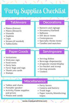 Party Supplies Checklist - Messy & Mine - Früchte im Garten Birthday Party Checklist, Party Planning Checklist, Birthday Party Themes, 16th Birthday, Birthday Ideas, Happy Birthday, Garden Birthday, Minion Birthday, Carnival Birthday