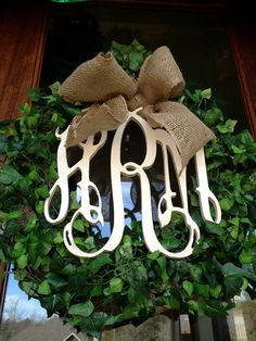 Beautiful Custom Classic Spring Summer Year around Initial Monogram Faux Boxwood Wreath with Burlap Bow   on Etsy, $90.00