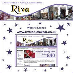 Riva Ladieswear Website Launch Facebook / Twitter Promote Your Business, Business Marketing, Wales, Designers, Product Launch, Social Media, Facebook, Website, Twitter