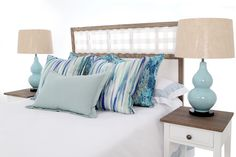 Ocean hues - take that holiday feeling home  Headboards - R3990.00 Scatter Cushions from R459.00 Order online Scatter Cushions, Throw Pillows, Knysna, Bespoke Furniture, Headboards, Staycation, Beach House, Ocean, Island