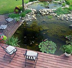 Des chaises autour un bassin de jardin avec vue sur des poissons or