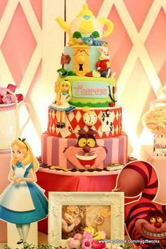 Amazing cake at an Alice in Wonderland birthday party!  See more party ideas at CatchMyParty.com!