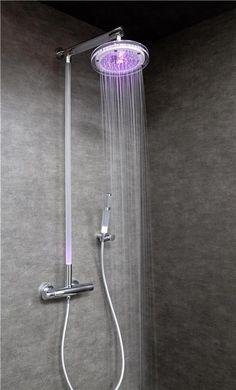 colonne de douche lumineuse linea+ lux glass led