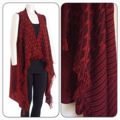 """Sweater Vest Stay trendy with this sweater vest/this jacquard cardigan features a hi-low hem with fringe for additional/open front is ideal for layering/100% acrylic/33"""" long/machine wash cold/new without tags/thanks for looking                                ❌No Trades❌                                                        ❌No PayPal❌ United States Sweaters Sweaters Cardigans"""