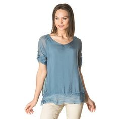Blue adjustable sleeves silk blouse