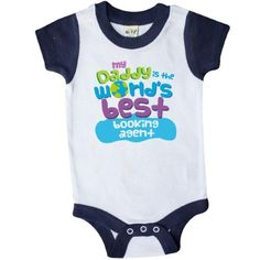 Inktastic World's Best Booking Agent Daddy Infant Creeper Baby Bodysuit Child's Kids Gift Agent's Son Childs Like My Cute Occupation Apparel Is Occupations One-piece Hws, Boy's, Size: 12 Months, Blue