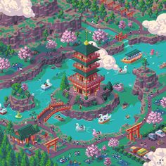 Mondo - 3 - A Day at the Park Insightful WIP posts and much more on Patreon==>https://bit.ly/2Kgnlxn #pixelart #pixelweeklies #mondo #japan #isometric #gamedev #indiedev #ドット絵 @rayslynyrd