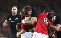 Sam Whitelock of the All Blacks is stopped in his tracks by two Lions players as the host . Rugby Players, British And Irish Lions, All Blacks, New Zealand, Tours, Couple Photos, Awesome