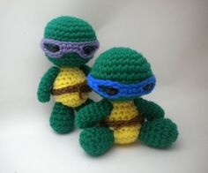 Crochet Pattern - Mini Turtle Ninjas Amigurumi - PDF file How to Crochet Amigurumi Animal: