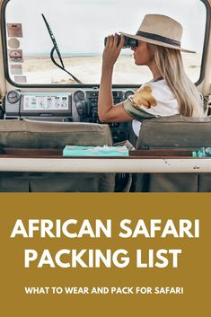 Safari vacation outfits and packing list. If you are planning a safari vacation and in need of safari outfits and safari outfit inspiration, I created the ultimate safari packing list. I'll give you specific examples about what clothes what to pack for a safari – jackets  – tops – footwear – accessories – insect repellent wipes – sunscreen – sunglasses – nighttime outfits – carry-on luggage and duffel bags – what to pack in the bag you take with you on your game drives #safarioutfits Safari Outfit Women, Safari Outfits, Safari Game, Safari Jacket, Duffel Bags, Insect Repellent, Carry On Luggage, Field Jacket, African Safari