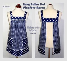 Relaxed Fit Pinafore Apron with no ties, Navy Polka Dot Farmhouse Smock with pockets, comfortable all day apron, made-to-order XS- Plus Size – Handwerk und Basteln Pinafore Apron, Sewing Aprons, Red Gingham, Blue Polka Dots, Natural Linen, Smocking, Pin Up, Sewing Projects, Sewing Patterns
