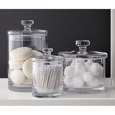 Great for Q tips and cotton pads! Small Glass Canister @crateandbarrel @bathroomstorage