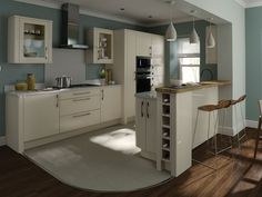 Kitchen - cream gloss with nice blue walls