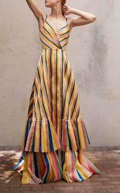 Mikado Multistripe Organza Tier Gown by Carolina