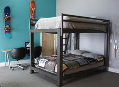 Our bunk beds are built for adults, featuring a 2,000 pound weight capacity, 6 available colors, and a contemporary aluminum design.