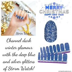 Silver Glitter, Blue And Silver, Navy Blue Nails, Fail Nails, Street Game, Dark Winter, Nail Polish Strips, Color Street Nails, Accent Nails