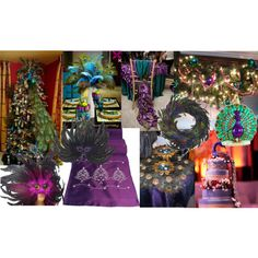 I'd love to decorate the game room with a peacock Christmas theme.