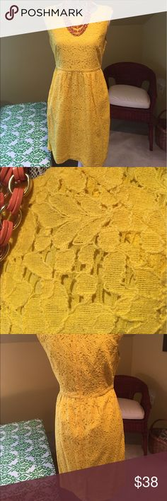 J. Crew Dress Beautiful yellow lace dress.   Fully cotton lined.  Side pockets.  So sophisticated!🌸 J. Crew Dresses