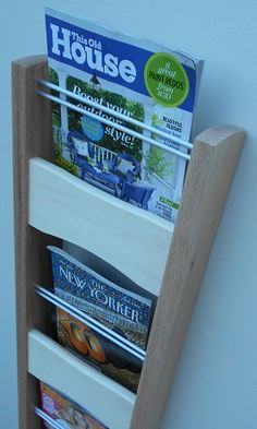 Contemporary Magazine Rack -- Wall Mounted Modern Magazine Rack -- Handcrafted…