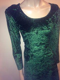 Vintage 90s Gothic Boho Green Crushed Velvet Dress by FisforFRESH, $30.00