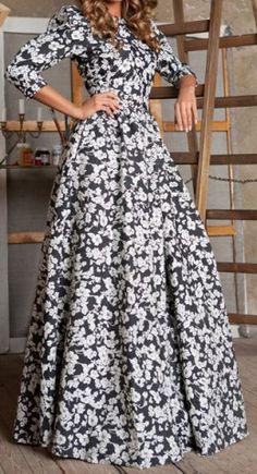 Vintage Round Collar 3/4 Sleeve Floral Print Maxi Dress