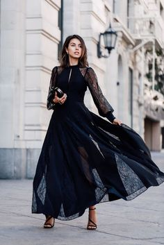 Chic fashion | Lace sleeves on chic sheer black dress