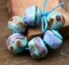 Handmade lampwork glass beads Turquiose Organics - SRA - brown, blue, purple