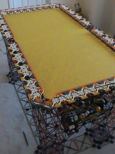 A pool table made entirely of K'nex. A unique pool table for sure! Diy Pool Table, Crazy Pool, Pool Games, Billiard Room, Lego Models, Table Games, Household Items, Legos, Game Room