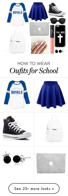 """""""School Day"""" by susanna-trad on Polyvore featuring LE3NO, Converse, Mansur Gavriel, Casetify, NARS Cosmetics and Bling Jewelry"""
