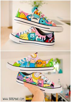 Acrylic paint (LUCAS) waterproof pens (Faber Castell) on canvas shoes For: Sabrina Theme: lots of Adventure Time Characters.