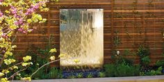 Contemporary Water Feature Wood Slat Garden Wall With Stainless Steel Fountain