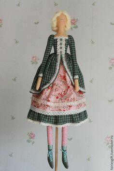 Купить Тильда Пелагея - зеленый, тильда, тильда кукла, кукла Тильда, барышня, текстильная кукла