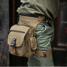 khaki Canvas waist bag