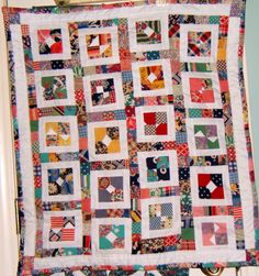 Small handmade quilted piece. Could be a stroller quilt or table topper or wall decor.  3-2015