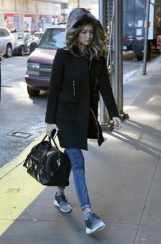 Gigi Hadid is spotted leaving her hotel in New York City, New York on February 13, 2016.