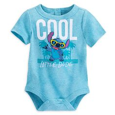 [Dude duds]Just like Stitch in his stylish sunglasses, your ''Little dude'' is sure to look ''Cool'' in this Disney Cuddly Bodysuit for Baby. They'll feel like they're in a Polynesian paradise as they pose with the toothy extraterrestrial.
