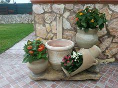 Fontanella con vasi e fiori