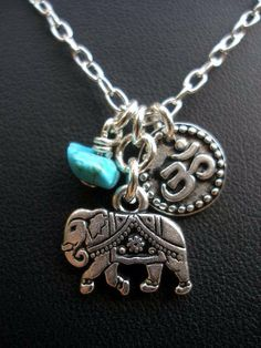 India Elephant OM and Genuine Turquoise by RedGypsyJewelry on Etsy