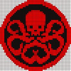thedoctorknits:So I just whipped up a thing. 50 st wide/50 st tall HYDRA logo. Please forgive the slight variations in color, photoshop did not want to behave and I gave up. I cannot emphasize enough that I haven't tested this monstrosity yet.