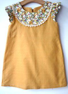 Mustard Yellow Organic Bamboo Cotton and Hello Kitty Liberty print dress